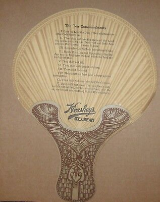 VINTAGE HERSHEY'S ICE CREAM FAN with TEN COMMANDMENTS Religion Bible Capitalism