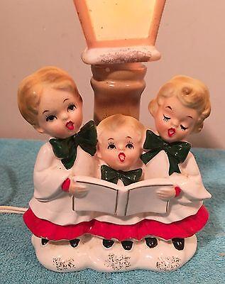 Vintage  Christmas Children Carolers Electric Lamp Post Japan Figurine