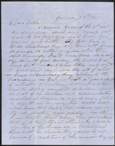 1860 Manuscript Letter – Interesting Political Content