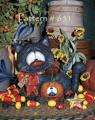Patti's Ratties Primitive Halloween Black Cat Pumpkin Doll Paper Pattern #651