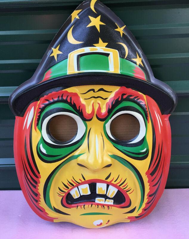 "Magic Glitter Witch 3-D Wall Mask Retro Halloween Decor 23""h 3d"