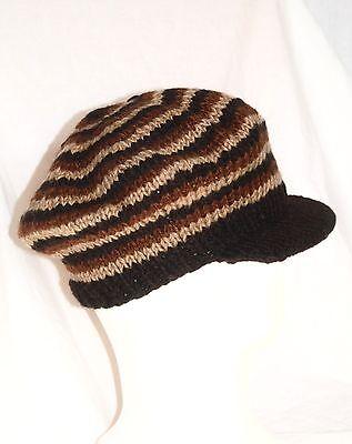 Strick Mütze mit Schild Wolle woolen hat knitted with visor Rasta (Dreads Hats)