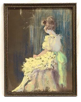 Antique Vintage Lady Woman Pastel Portrait Painting Original Frame