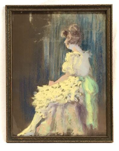Изображение товара Antique Vintage Lady Woman Pastel Portrait Painting Original Frame