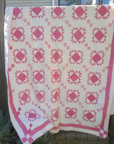 1800s Antique Double Pink Calico Sawtooth Cotton Hand Stitched Quilt Clean