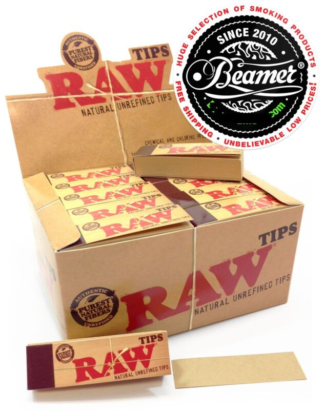 10 Packs RAW Rolling Paper Tips Filter CHEMICAL FREE 50 Sheets per pk, 500 Tips