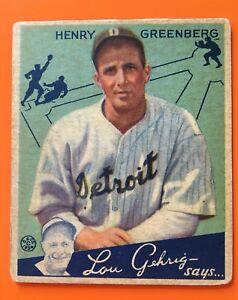 1934 Goudey Baseball Card Hank Henry Greenberg #62 - Nice Shape!