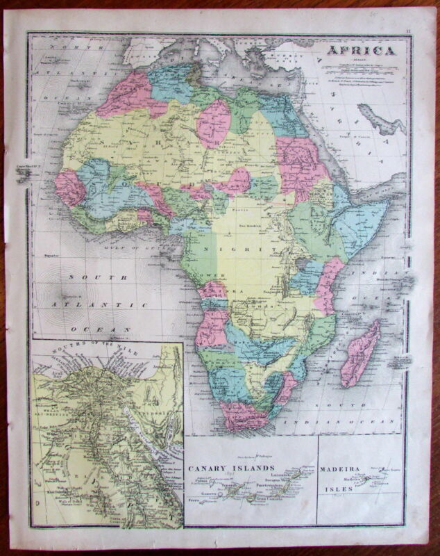 Africa insets Canary & Madeira islands c.1870 large old hand color map