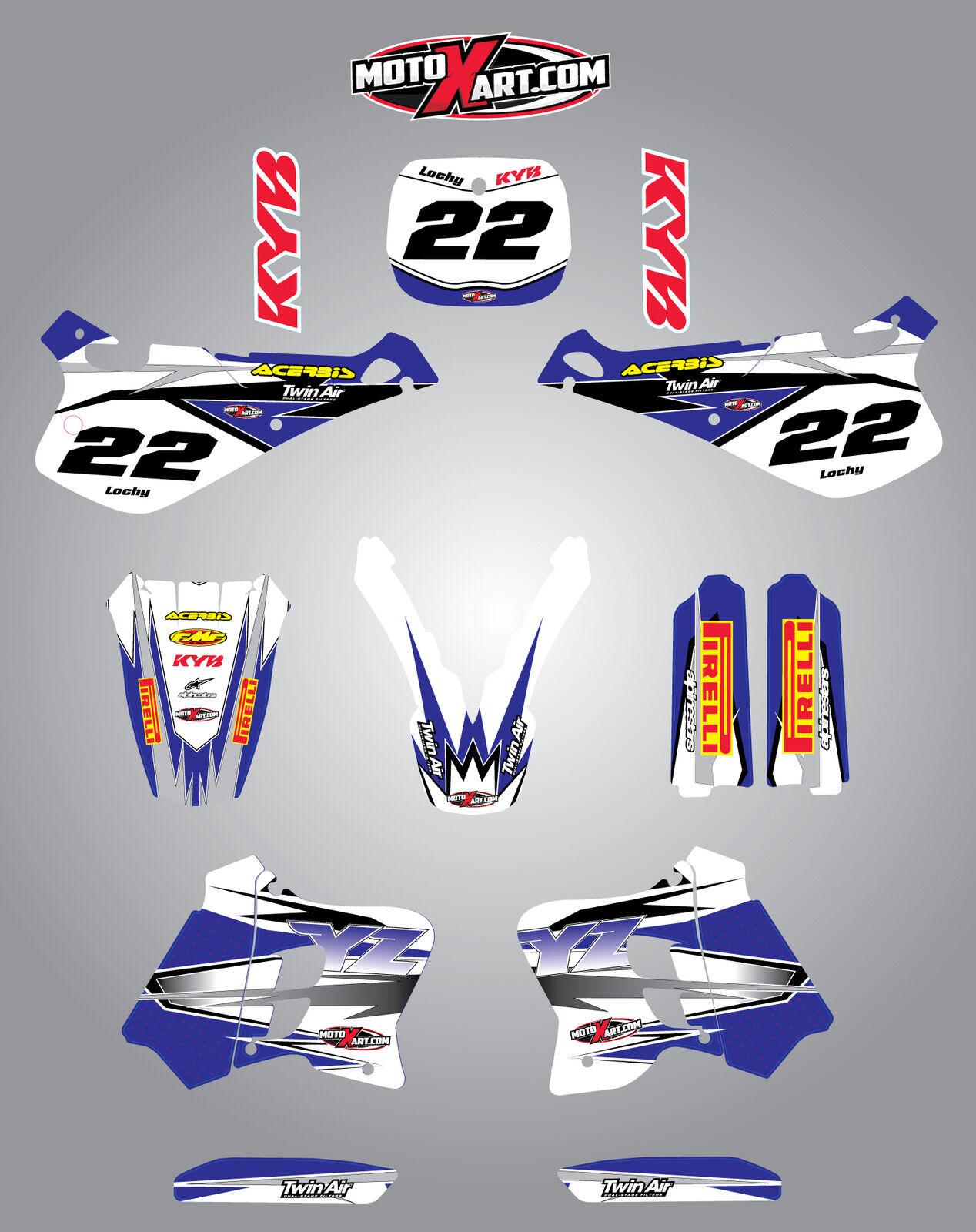 250-1996 2001 Full custom graphics kit BARBED style stickers Yamaha YZ 125