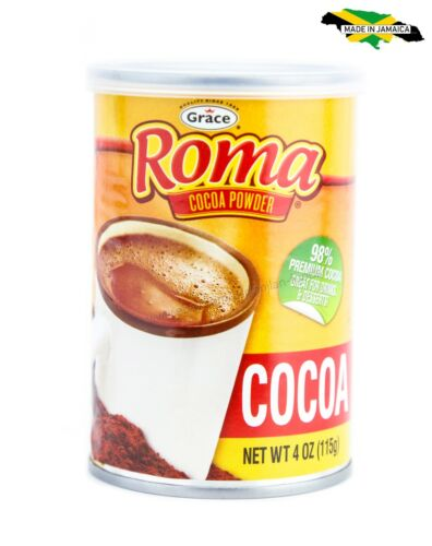 1 Jamaican Grace Roma Premium Cocoa Powder for Tea Drinks and Desserts, 4oz Can