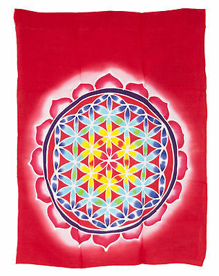 Batik Panel in Loop Flower of the Life Hanging Cotton Handmade 66x52cm 6687 MH