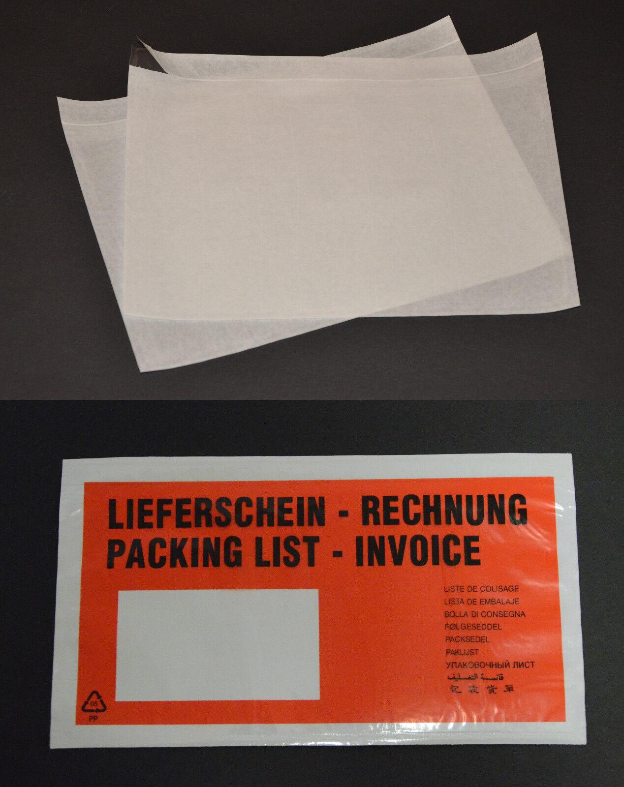 Lieferscheintaschen Dokumententaschen transparent ohne Druck C4 C5 DIN Lang Rot