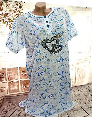 Kurzarm-nachthemd (Damen Kurzarm NACHTHEMD Nachtwäsche Schlafshirt Pyjama LOVE HERZEN Weiß/Blau Neu)