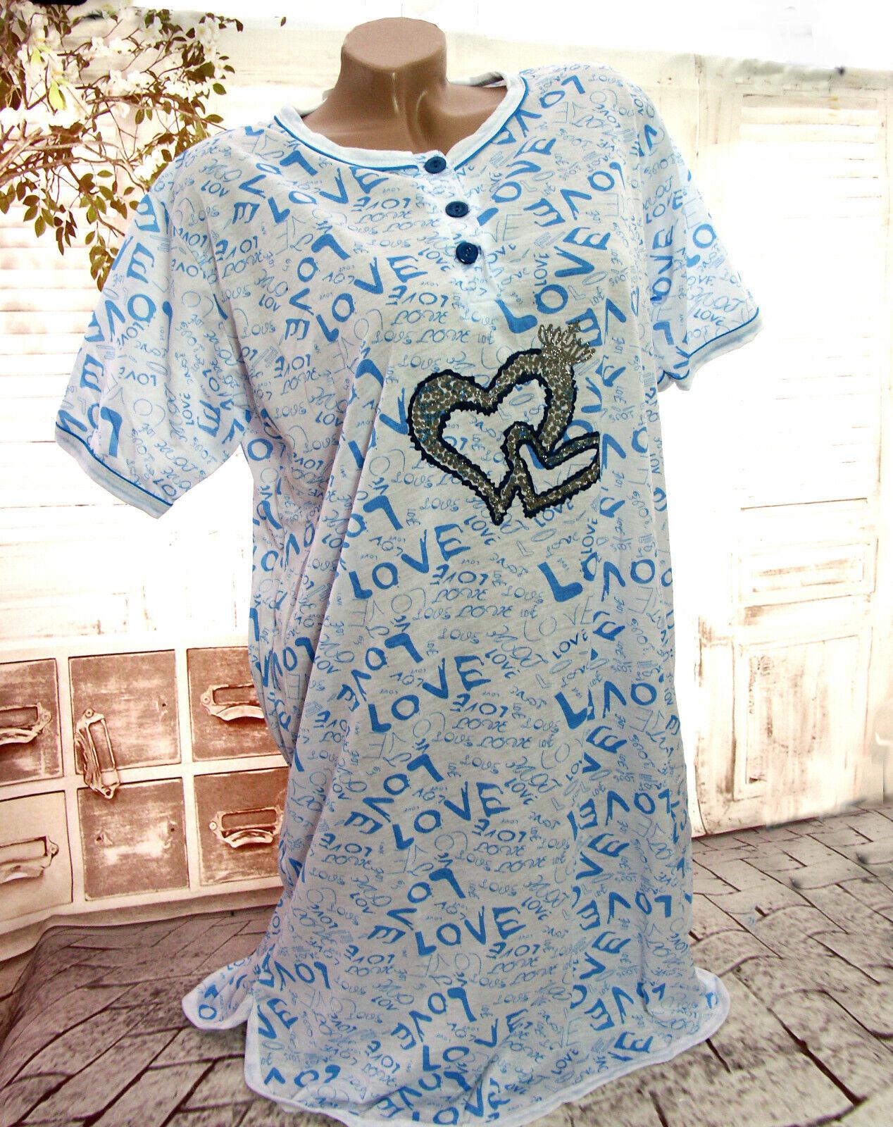 8b28e2d5e46afd Damen Kurzarm NACHTHEMD Nachtwäsche Schlafshirt Pyjama LOVE HERZEN  Weiß/Blau Neu*