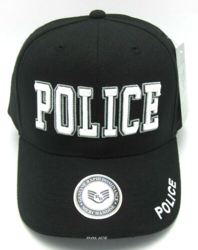 Police Ball Cap Hat Law Enforcement 3D Embroidered Adjustable Hats Caps Black