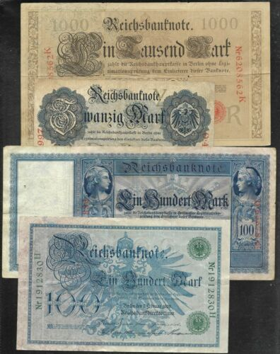 Germany - 20 Different Old Banknotes - 1908 to 1933 - Fine & Better
