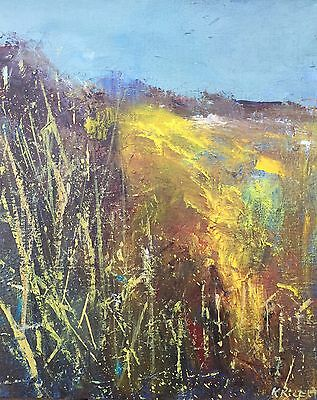 """ORIGINAL ACRYLIC PAINTING """"Abstract Landscape No 102"""" by Karen Rice"""