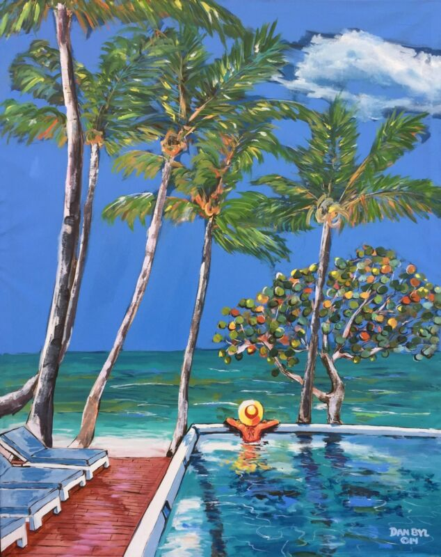 New Caribbean Palm Trees Beach Original Art Painting Artist Dan Byl Huge 4x5ft