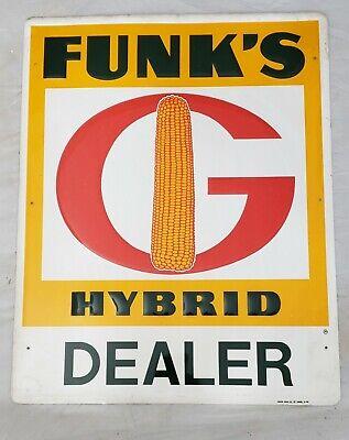 """Original Vintage """"FUNK'S G HYBRID"""" Dealer Embossed Tin Metal Sign w/ Corn Image"""