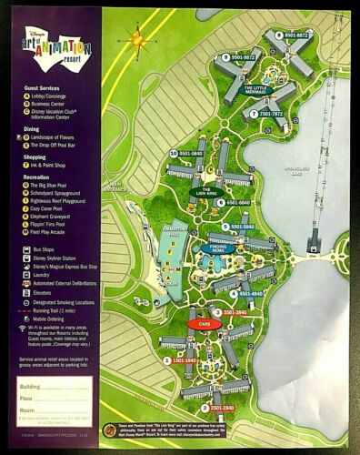 New 2020 Walt Disney World Art Of Animation Resort Map + 7 Theme Park Guide Maps