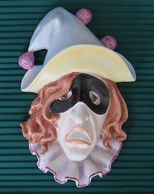 GALVEZ PARCELANAS ARTISTICAS Vintage Harlequin Porcelain Hanging Wall Mask
