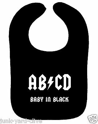 Dc-bib (AC/DC BIB AB/CD BABY IN BLACK ROCK METAL MUSIC BAND BABY BIB NEW)