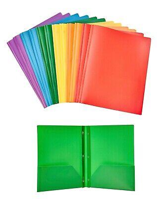 Pen & Gear Plastic Folders 2-Pocket 3-Prong RANDOM ASSORTED COLORS 10-Pack NEW
