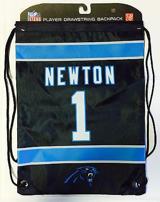 Cam Newton #1 Carolina Panthers Jersey Back Pack/Sack Drawstring gym Bag Black - Carolina Panthers Backpack
