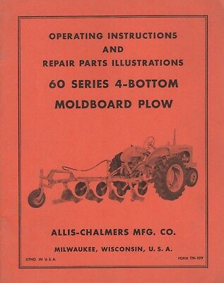 Allis-chalmers 60 Series 4-bottom Moldboard Plow Operators Parts Manual 076