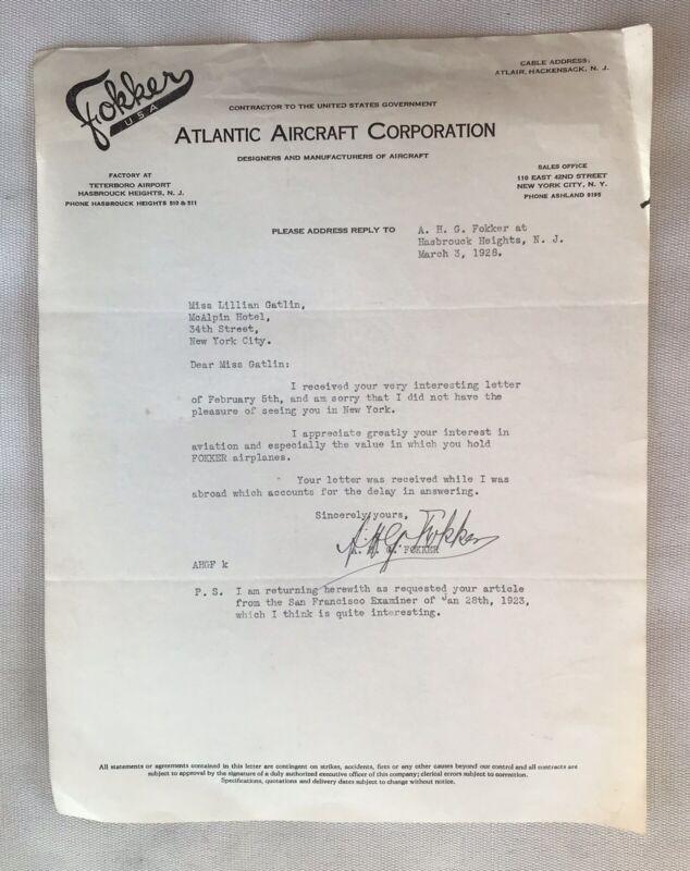 Antique A.H.G. Anthony Fokker Signed Letter To Lillian Gatlin Aviator