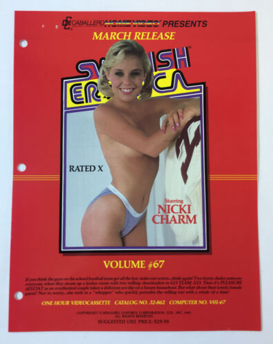 1985 adult film ad slick ~SWEDISH EROTICA V.67 Nicki Charm