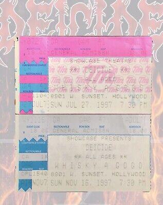 DEICIDE Band CONCERT TICKET STUBS 1997 Whiskey A Go-Go Los Angeles California 2X
