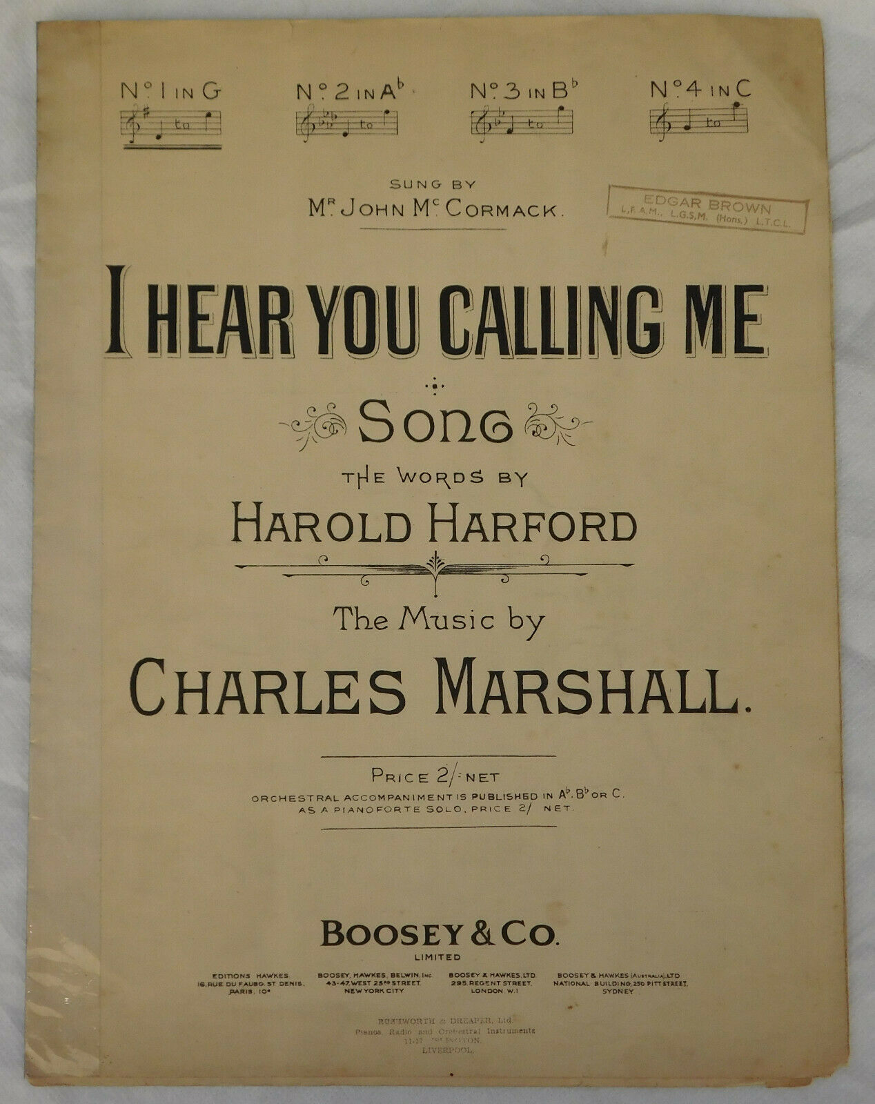 I Hear You Calling Me song vintage sheet music Harold Harford Charles Marshall