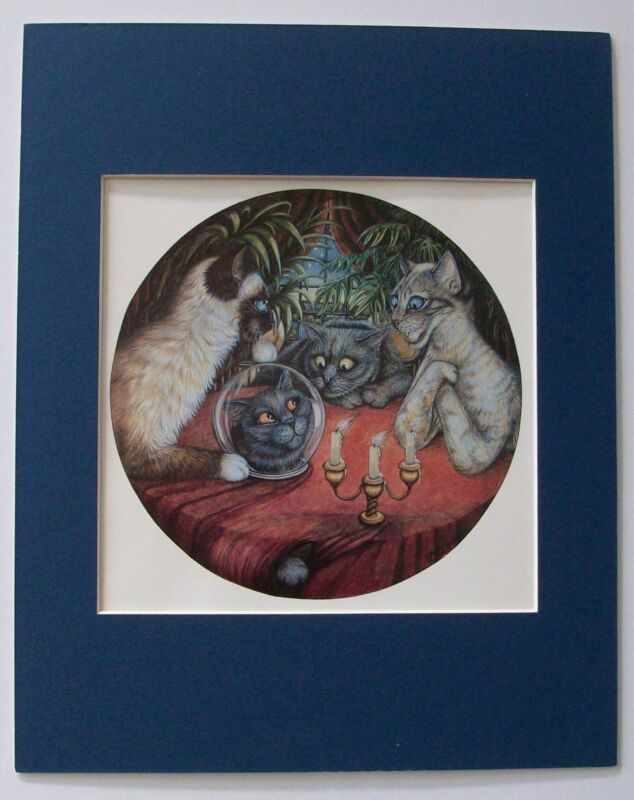 Cat Print Zoe Stokes Fortune Teller Colored Bookplate 1982 8x10 Blue Matted Cute