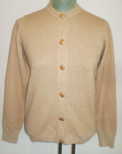 Vintage BALLANTYNE TAN Fine Scottish CASHMERE Cardigan SWEATER M - L