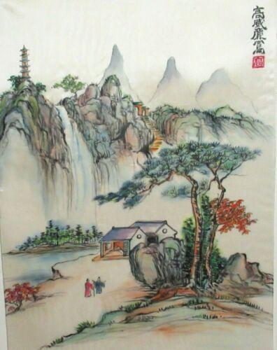 CHINESE ORIGINAL WATERCOLOR YANGTZE RIVER VILLAGE LANDSCAPE PAINTING SIGNED