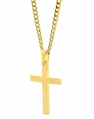 "Mens Stainless Steel Gold Plated Cross Plain Pendant 24"" Cuban Necklace Chain"