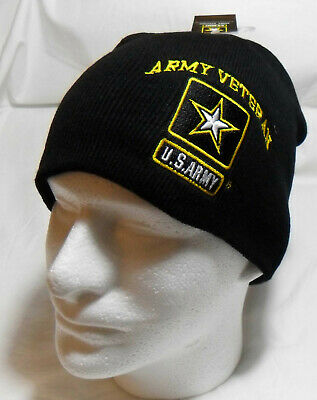 U.S. Army Veteran with Star Officially Licensed Beanie Tobogan Winter HAT Cap