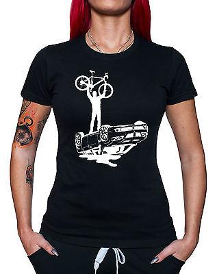 Biker vs Auto Frauen T - Shirt Gamer Fahrrad BMX Rad Fahrer Fan Shirt Fun Girlie