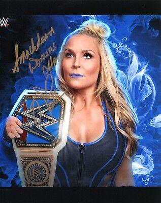 NATALYA WWE SIGNED WRESTLING PROMO PHOTO NATTIE WITH SMACKDOWN TITLE BELT