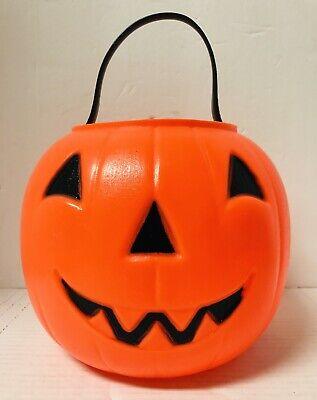 "Vintage Empire 8"" Blow Mold Pumkin Jack O Lantern Candy Bucket Pail Pumpkin"
