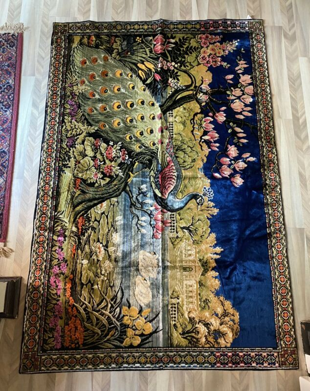 Vintage Large  Italian Velvet Tapestry Or Rug 48 By 74