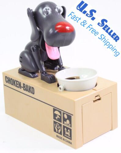 Funny Black Dog Stealing Eating Piggy Coin Saving Bank Home Decor Gift US Seller
