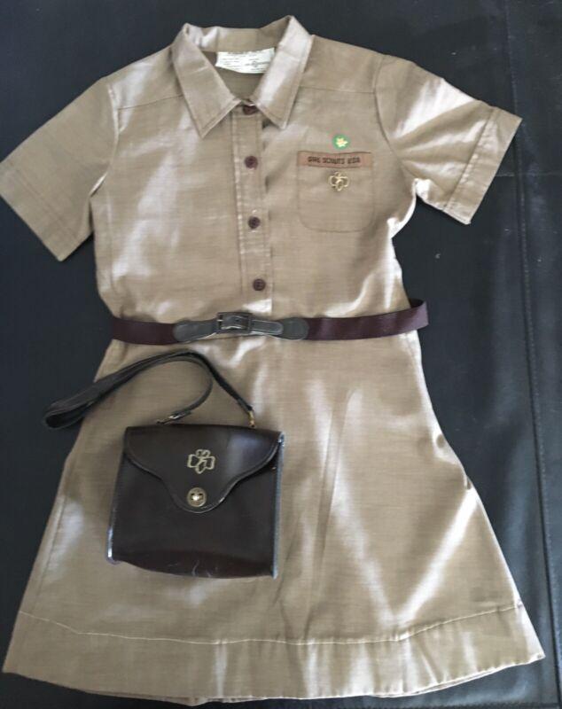 Vintage BROWNIE Girl Scout UNIFORM DRESS-PINS-BELT-PURSE 1968