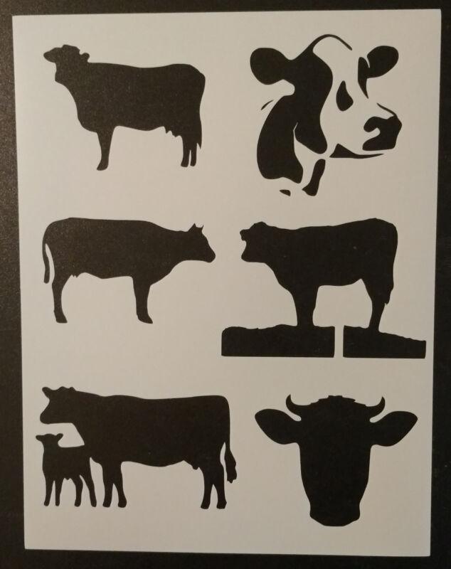 "Cow Cows Country Farm Animals 8.5"" x 11"" Custom Stencil FAST FREE SHIPPING"