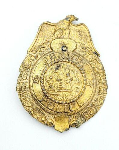"Vintage Junior Police Badge Pot Metal 2 1/2"" Gold Color Toy Pin"
