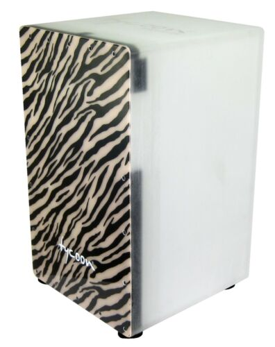 Tycoon Percussion Clear Acrylic Cajon with Polar Ice Design Frontplate