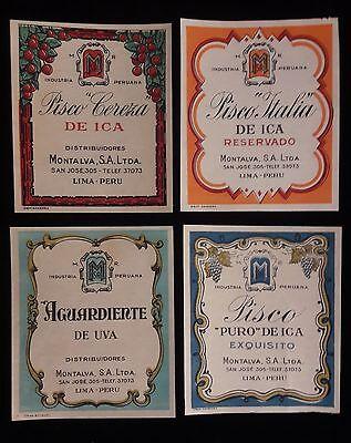 PERU 4x Pisco de Ica Montalva wine firewater of grapes lable proof 1940s - Wine Lables
