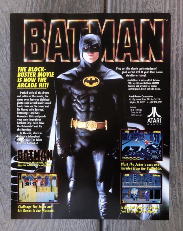 Batman Atari Video Game flyer 1990 Arcade Vintage NOS