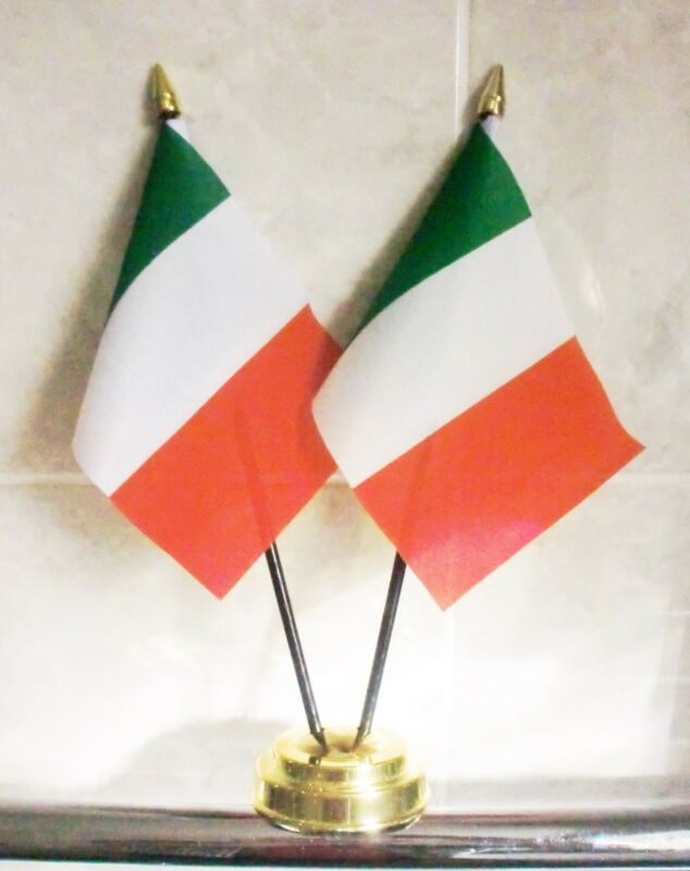 ITALY X2 TABLE FLAG SET 2 flags plus GOLDEN BASE ITALIAN